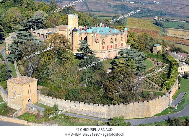 France, Rhone, Beaujolais region, the wine producing castle of Montmelas Saint Sorlin (aerial view)