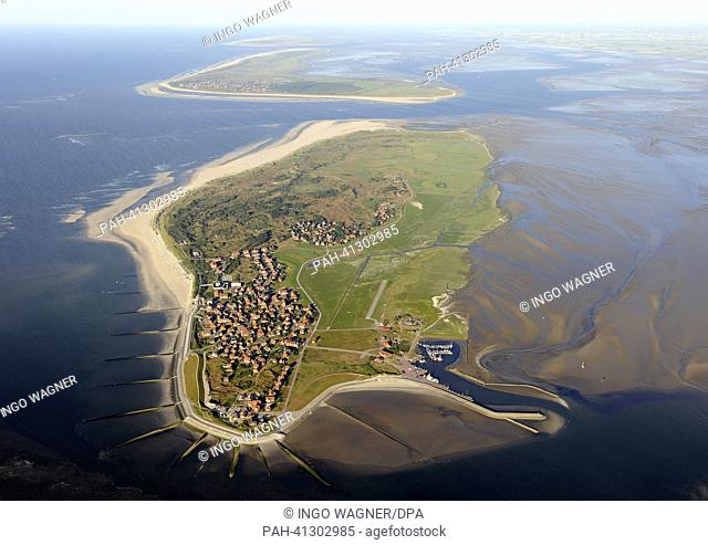 An aerial view of Baltrum shows the smallest East Frisian Island of national park Lower Saxony's Mud Flats near Borkum, Germany, 22 July 2013