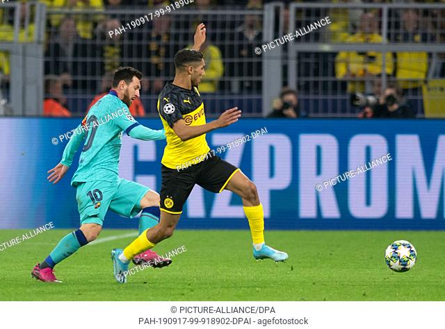 17 September 2019, North Rhine-Westphalia, Dortmund: Soccer: Champions League, Borussia Dortmund - FC Barcelona, group stage, group F
