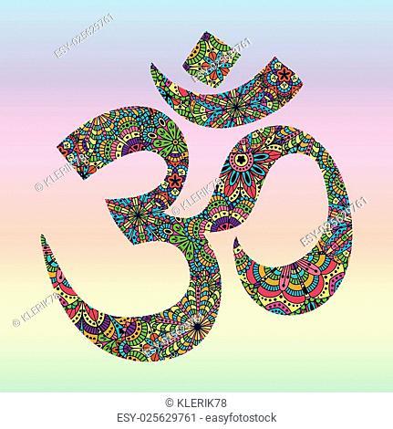Symbol OM. Oriental ornament for your design. Buddhism decorative element. Vector illustration