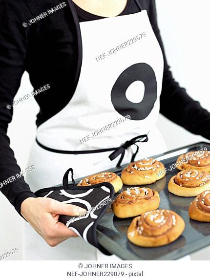 Homemade Buns on a Baking Tray