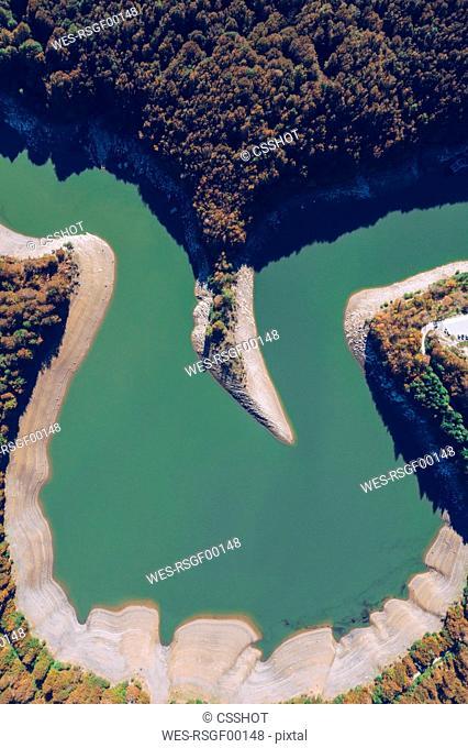 Spain, Navarra, Irati Forest, aerial view of reservoir