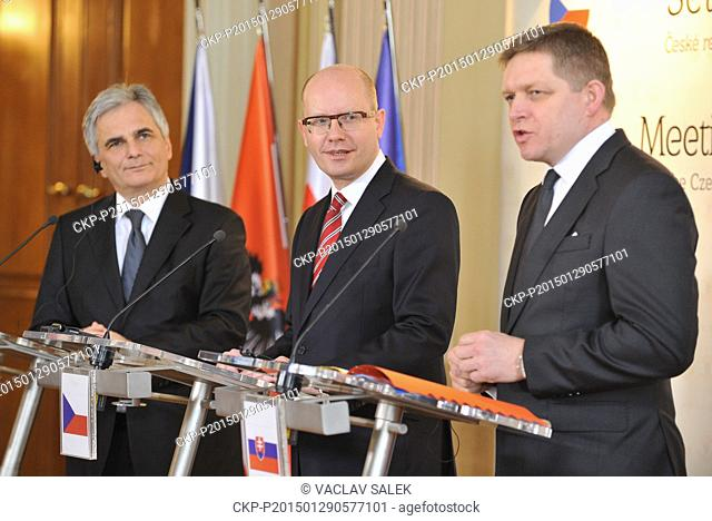 Czech Prime Minister Bohuslav Sobotka (center), Slovakian Prime Minister Robert Fico (right) and Chancellor of Austria Werner Faymann (left) pose for photograph...