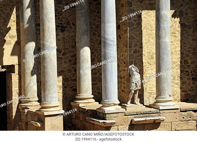 Roman Theatre, scena columns. Merida, Badajoz, Spain