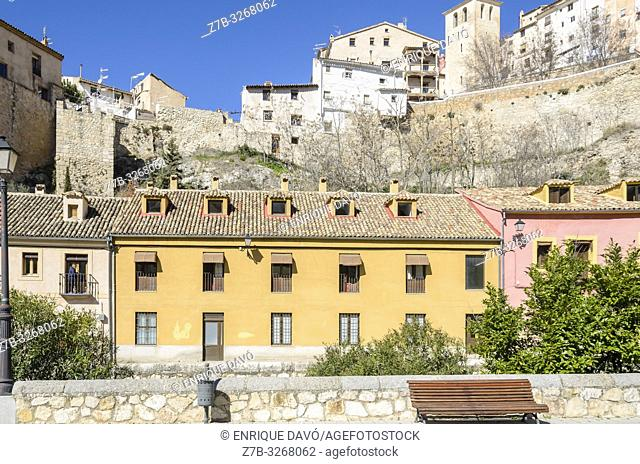View of a yellow house closed to San Julián park, Cuenca city, Spain