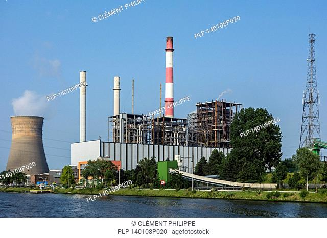 The Electrabel power station along the Ghent-Terneuzen Canal at Ghent seaport, Belgium