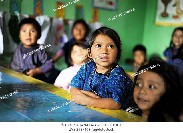 Guatemala indigenous children at preschool in San Antonio Palopo, Solola, Guatemala