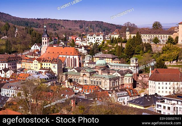 The Bathing district in Baden Baden with the New Castle and famous Friedrichsbad and the collegiate church. Seen from Anna mountain