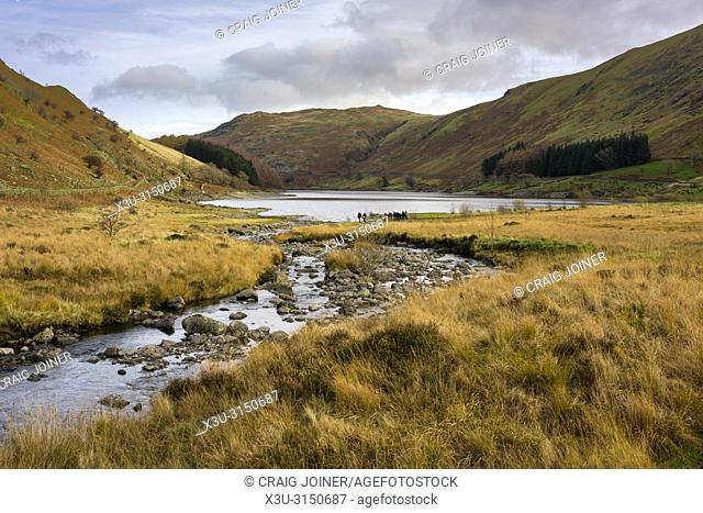 Mardale Beck and Haweswater Reservoir at Mardale Head in the Lake District National Park, Cumbria, England