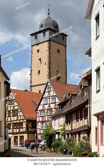 View towards Bayer Tower, named after the watchman's family Bayer, Lohr am Main, Hesse, Germany, Europe