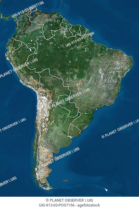 Satellite view of South America (with country boundaries). This image was compiled from data acquired by Landsat 7 & 8 satellites