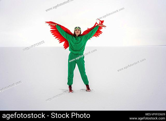 Woman with wings in bird costume standing on snow against sky
