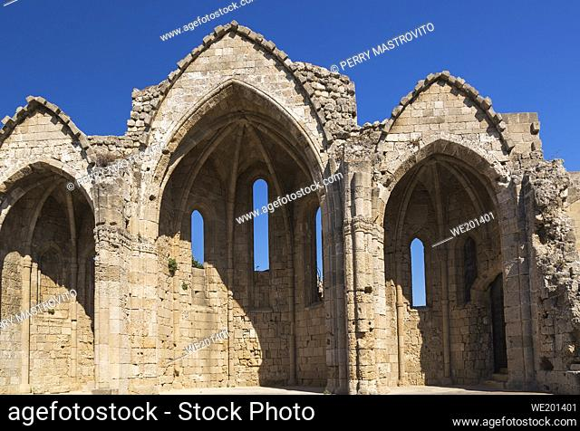 Ruins of the medieval church of Saint-Marie-du-Bourg in the old town of Rhodes, Rhodes, Greece