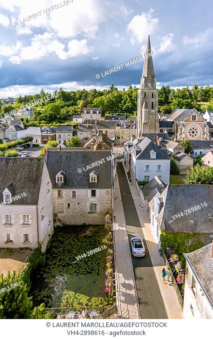The City View from the Castle of Langeais with Saint-Jean-Baptiste Church, Indre-et-Loire, Centre region, Loire valley, France, Europe