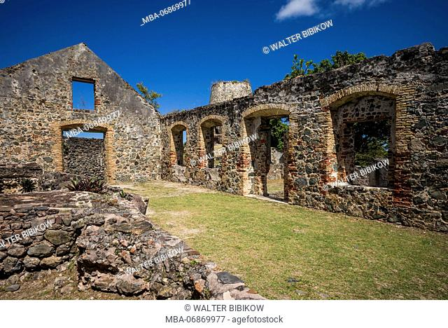 U.S. Virgin Islands, St. John, Leinster Bay, Annaberg Sugar Mill Ruins