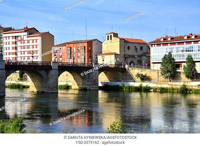 Miranda de Ebro view across Ebro river, Iglesia Espiritu Santo and Puente de Carlos III - Carlos III bridge, Burgos province, Castile and León