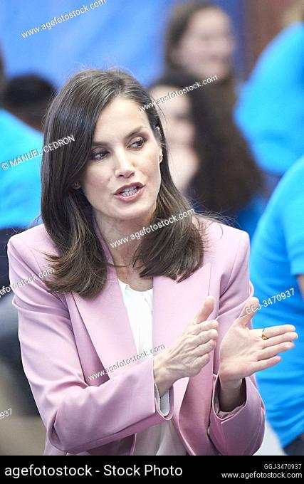Queen Letizia of Spain attends the proclamation of the winner of the 'Princess of Girona 2020 Foundation Award' in the category of 'Scientific Research' at...