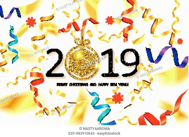 Glossy New Year background with a number 2019, realistic stars, balls and curly gold gift ribbons. A banner with Let s Celebrate slogan and Christmas lights
