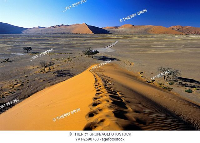 Namibia, Namib-Naukluft National park, Sesriem, Dune 45, overview from top