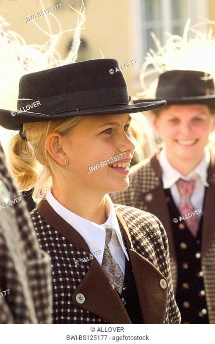 Austria Wachau Spitz harvest festival girl with spear gras hat