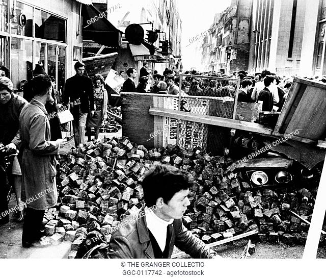 PARIS STUDENT REVOLT, 1968.Barricade of paving stones and street lights in Rue des Saint-P�res on the Left Bank in Paris, France, May 1968