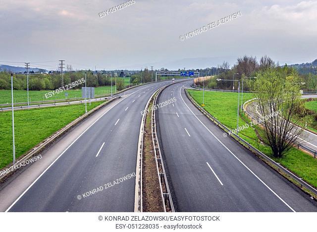 D48 motorway in Cesky Tesin city in the Moravian-Silesian Region of Czech Republic