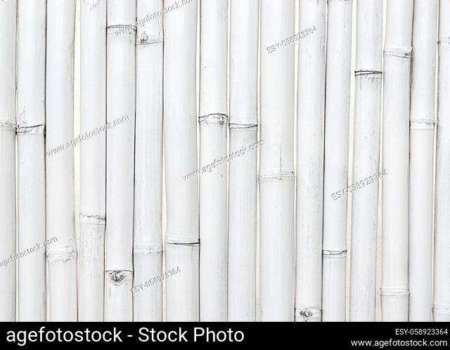 White painted bamboo wall texture or background