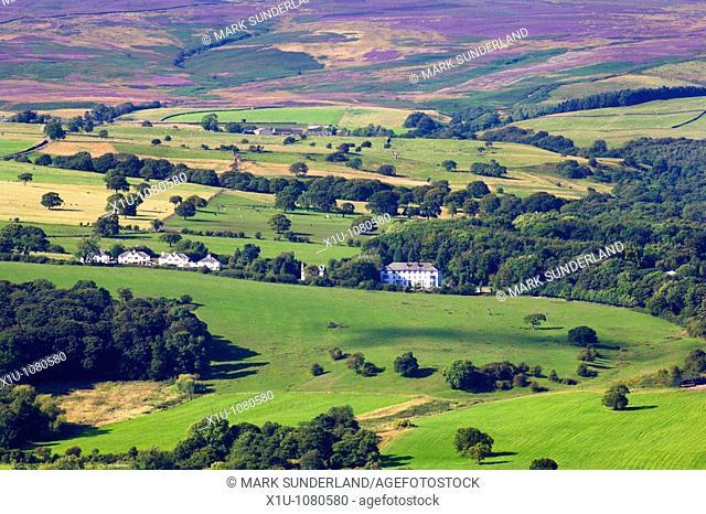 White Buildings below Blubberhouses Moor from Ilkley Moor West Yorkshire England