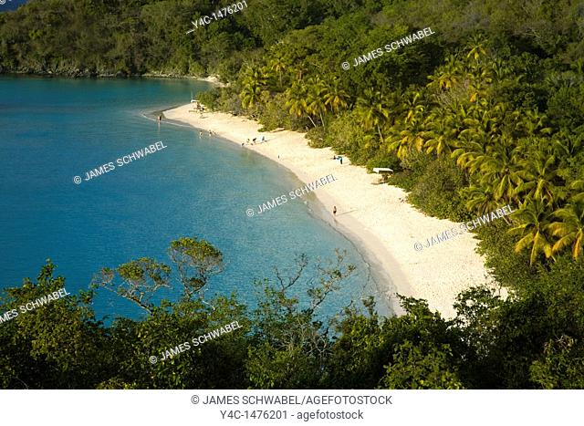 Trunk Bay Beach in the Virgin Islands National Park on the caribbean island of St John in the US Virgin Islands