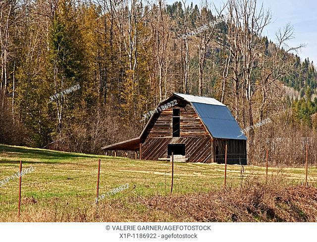 This old barn is in a pasture in springtime with wooded hills in the background This is located in Pend Oreille County in North Eastern Washington state Forest...