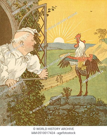 'The House that Jack Built' accumulative nursery rhyme. This is the Cock that crowed in the morn ..  Illustration by Randolph Caldecott