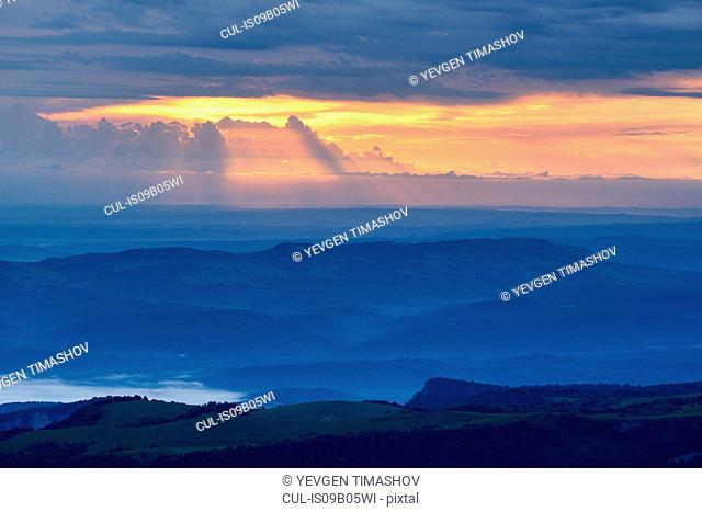 Misty landscape at dawn, Bolshoy Thach (Big Thach) Nature Park, Caucasian Mountains, Republic of Adygea, Russia
