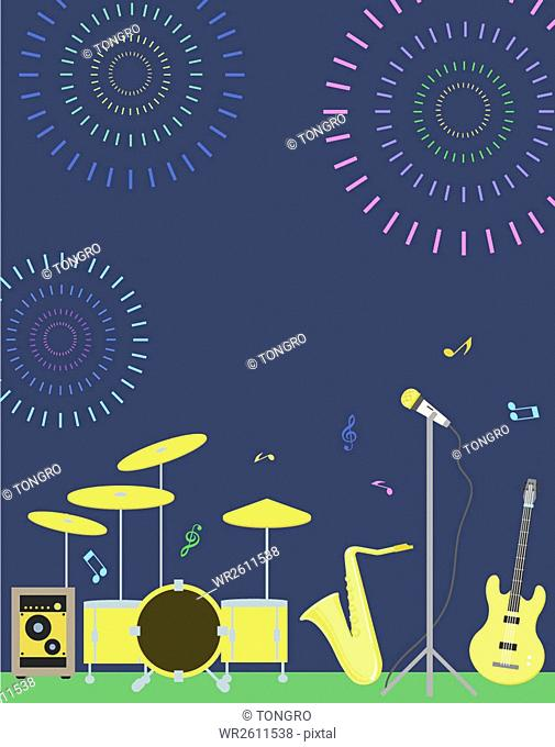 Poster background of spring music festival