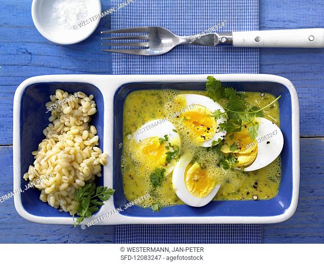 Eggs in curry & mustard sauce with wheat and fresh chervil