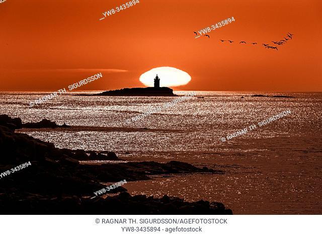 Lighthouse, Flatey island in Breidafjordur