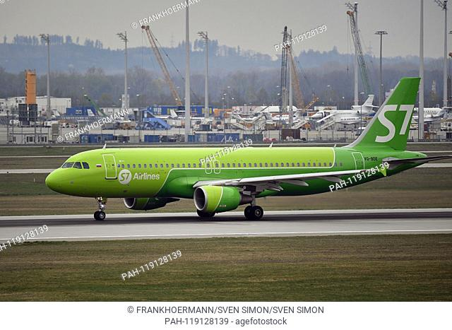 VQ-BDE S7 - Siberia Airlines Airbus A320-214 jet rolls to takeoff, air traffic, fly. Aviation. Franz Josef Strauss Airport in Munich.Munich