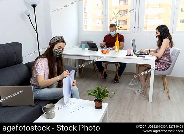 Colleagues working in office during pandemic
