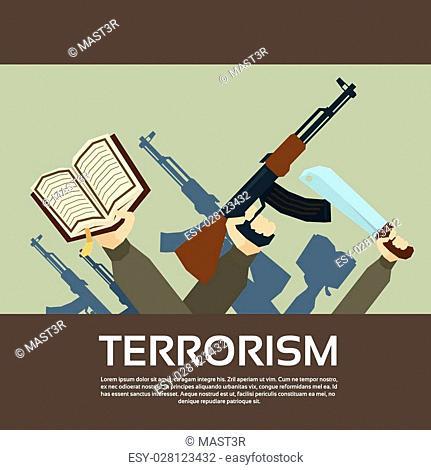 Terrorist Group Hands Holding Guns Terrorism Vector Illustration