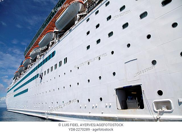Partial view of a Royal Caribbean cruise to Coco Cay, are approximately 55 miles north of Nassau in the Bahamas