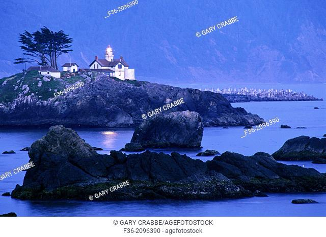 Battery Point Lighthouse in evening light, Crescent City, California