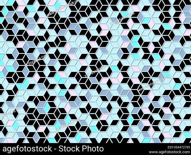 Abstract geometric four pastel color Chaotic rhombus lattice background 3D render illustration