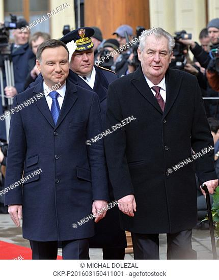 Czech President Milos Zeman (right) and Polish President Andrzej Duda during a Welcome ceremony with military honours at Prague Castle, Czech Republic, March 15