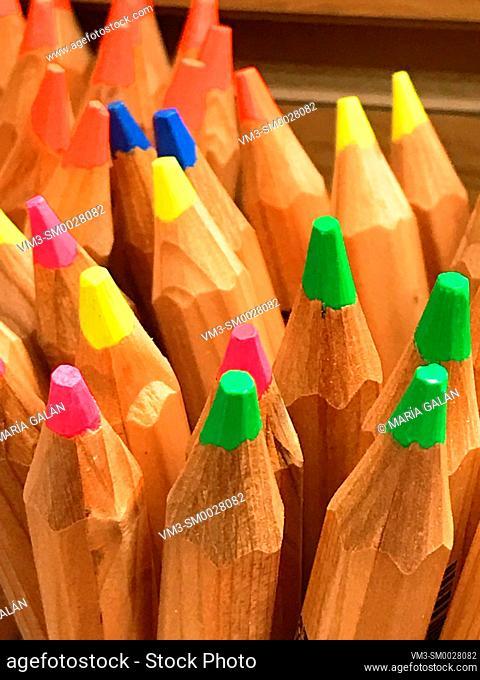 Color pencils. Close view