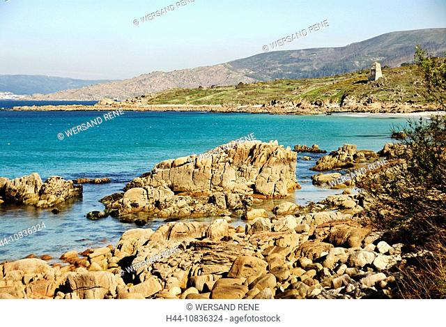 Spain, Europe, Galicia, coast, sea, water, coasts, rock, shore, beach, seashore, hidden, summer, landscape, ocean