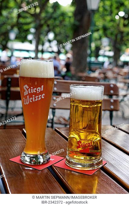 A Stiegl wheat beer and a lager beer, Stieglbraeu zum Klosterhof beer garden, Linz, Upper Austria, Austria, Europe