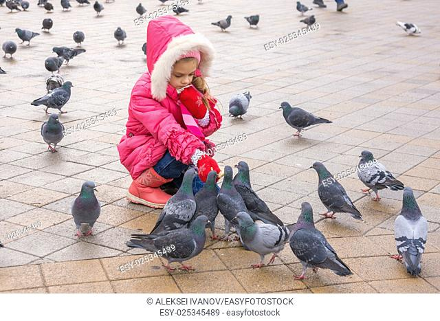 Seven-year girl in the winter feeding pigeons in the street
