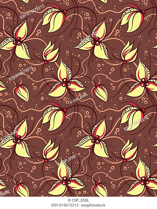 Seamless pattern yellow orchid flowers