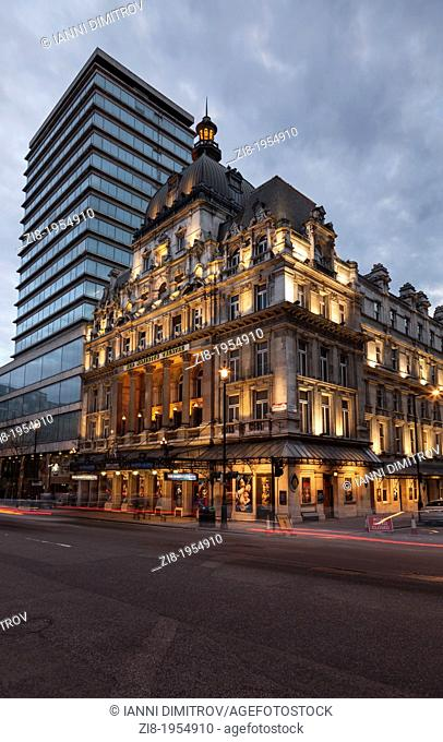 Exterior of Her Majesty's Theatre at night,Haymarket,West End,London,England