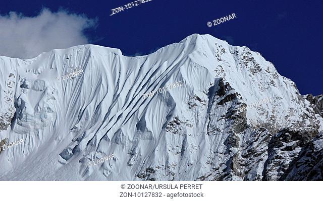 Beautiful shaped mountain near mount Nuptse