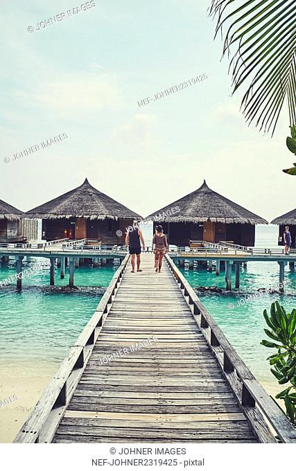 Jetty and tourist huts, Maldives